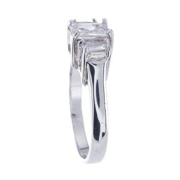 Plutus Brands 925 Sterling Silver Platinum Finish Emerald Cut Three Stone Engagement Ring 1.5 Carat Weight- Size 5
