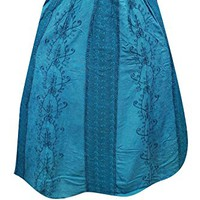 Mogul Womens Long Skirt Teal Blue FLAUNTING Floral Embroidered Bohemian Beach Skirts