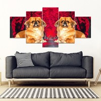 Pekingese Dog Print 5 Piece Framed Canvas- Free Shipping