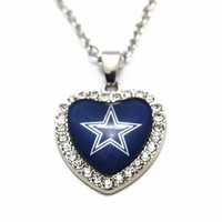 1pcs/lot Heart Crystal Football Dallas Cowboy Glass Pendant Necklace With 50cm Chains Necklace For Women Men Necklace Jewelry