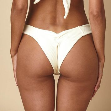 Cream Rib Added Coverage Uno Bikini bottom
