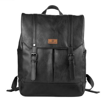 Classic Casual PU Leather Vintage Fashion School College Book Bag Daypack Laptop Backpack For Acer Aspire,MacBook,Samsung Tablet