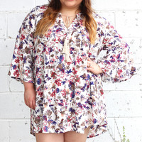 Just Passing Through Floral + Crochet Tunic Dress {Curvy}