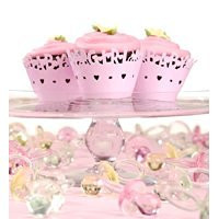 It's a Girl Laser Cut Cupcake Covers 24 Baby Shower Pink