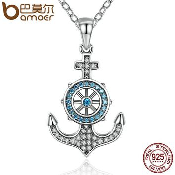 100% 925 Sterling Silver Sky Blue Crystal Anchor & Rudder Pendants & Necklaces Women Boat Helm Jewelry SCN061