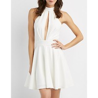 Mock Neck Cut-Out Skater Dress | Charlotte Russe