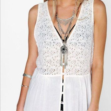 VLXZGW7 Boho Lace Loose Maxi Dress