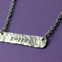 Personalized Bar Necklace - Hammered Bar Necklace