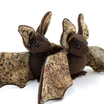 Brown and Gold Bat Stuffed Animal, Plushie, Plush Toy