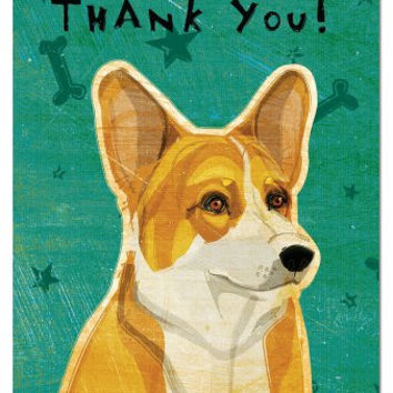 Tree-Free Greetings Eco-Notes Thank You Card Set, 4 x 6 Inches, 12-count Cards with Envelopes, Pembroke Welsh Corgi (93044)