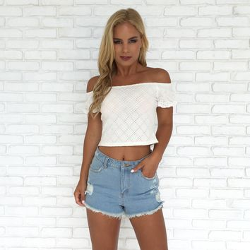 Field of Dreams Embroidered Crop Top in White