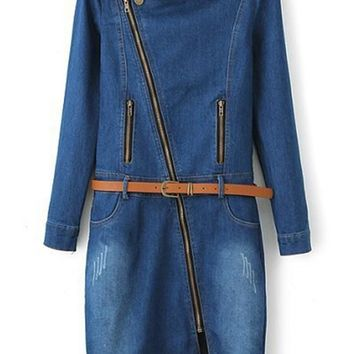 Blue Plain Zipper Above Knee Skinny Denim Dress