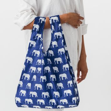 Elephant Blue Standard Reusable Shopping Bag by Baggu