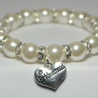 bridesmaid bracelet - ask to be bridesmaid - white pearl bracelet - best selling items - bridesmaids gifts - trending - handmade bracelet