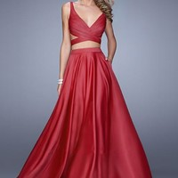 La Femme 21178 Two Piece Satin Long Crimson Prom Dress