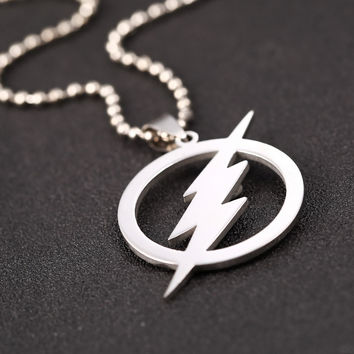 New The Flash Thunder 316L Stainless Steel Necklaces For Women Movie Pendant Necklace For Men Jewelry Barry Allen Necklace