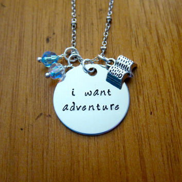 """Disney's """"Beauty and the Beast"""" Inspired Necklace. Belle: I want adventure. Silver colored, Swarovski crystal, for women or girls"""