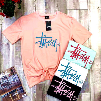 Stussy Print leisure couple with cotton T Shirt top