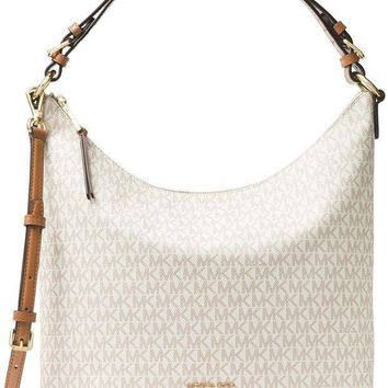Michael Michael Kors Lupita Signature Large Hobo Shoulder Bag Vanilla