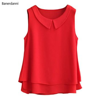 summer New plus size Chiffon Blouse For Women Tops And Blouses Double layer collar sleeveless Femme Blusas Femininas