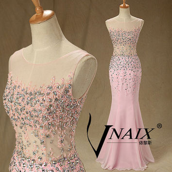 2014 New Arrival Boat Neck V Back Sexy See Through Crystal Long Custom Made Pink Mermaid Prom Dresses 2014 Evening Dresses