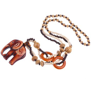 1Pc Women Boho Style Ethnic Handmade Bead Wood Elephant Pendant Long Necklace Long Chain Jewelry Nice Gift