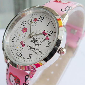 Fashion cartoon quartz watch Wristatch casual wear hello kitty  rhinestone watch ladies girls kids high quality