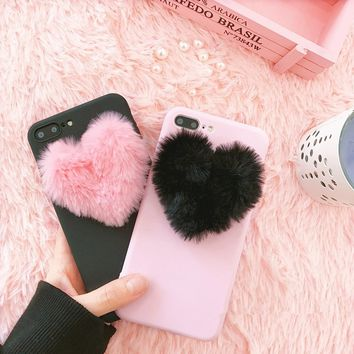 Super Cute 3D Love Heart Fur Ball Phone Case for Iphone 5 5s 6 6s 7 8 Plus 10 X Pink/Black Color Soft Silicone Plush Cellphone C