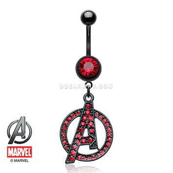 The Avengers Sparkle Black Titanium PVD Belly Button Ring