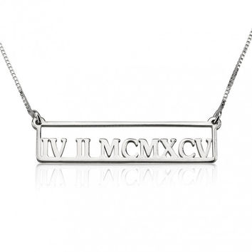Sterling Silver Framed Roman Numeral Bar Necklace