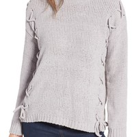 Woven Heart Lace-Up Chenille Pullover   Nordstrom