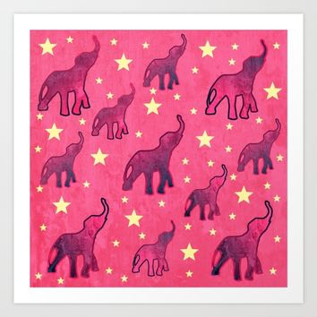 Elephants Stars Pattern Art Print by oursunnycdays