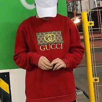 GUCCI male and female models embroidery casual long-sleeved sweater pullover sweatshirts F