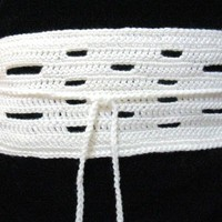 Custom Open Weave Crocheted Wide Belt with Velcro and Crocheted Button