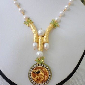20%off Gold Coin Necklace, Beaded Necklace with Cultured Pearls and Gemstones, Unique Fashion Statement Necklace, Peridot and Pearl Necklace