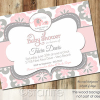 Elephant Baby Shower Invitation - Pink and Gray Grey Blooms Floral - Baby Girl - PRINTABLE Invitation Design
