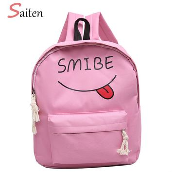 Smile Pattern Fahion Women Backpack Canvas Large Capacity Female Book Bags Cute School Bags For Student Girls Casual Rucksack