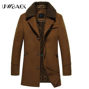 Uwback 2017 New Brand Winter Trench Coat Men Plus Size 2XL Thick Wool Coat Man Fur Removable Collar Fitness Coat Men OA001