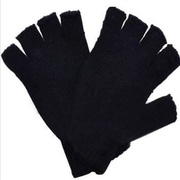 Fashion drop shipping Black Short Half Finger Fingerless Wool Knit Wrist  Glove Winter Warm Gloves Workout  for Women and Men