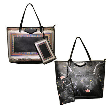 Printed Leather Tote Bag-Design Rug