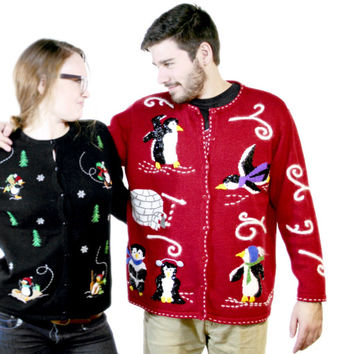 Sequin Penguins Tacky Ugly Christmas Sweater - The Ugly Sweater Shop