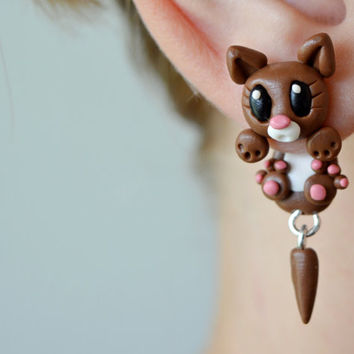 brown cat earrings,animal dangling earrings,cute clinging earrings,ear jackets,front back earring,double side earring,funny two part earring