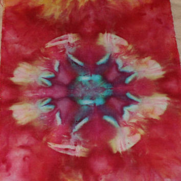 "Tie Dye Fabric Ice Dyed Handkerchief Linen 55""x7"""