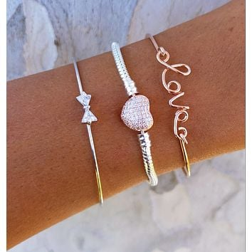 Bow & Heart Bracelet Set