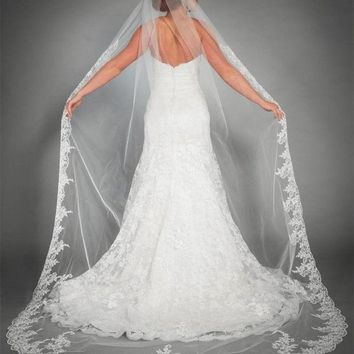 Lace Cathedral Long Wedding Bridal Veil with Comb