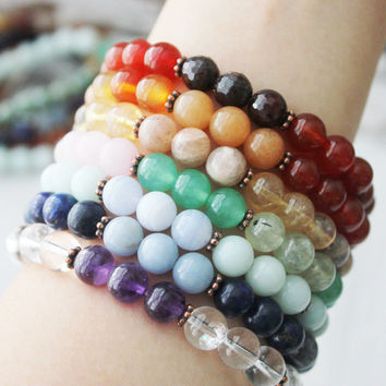 Ultimate Seven Chakra Yoga Stack with Multi Gemstones Rainbow Bracelets Healing Jewelry Unisex