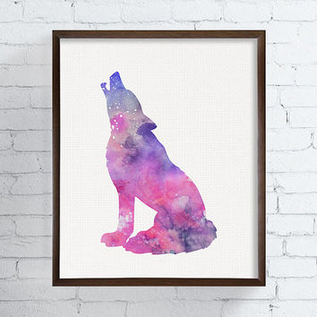Pink Wolf, Wolf Art Print, Watercolor Wolf Painting, Wolf Poster, Wild Animals, Nursery Wall Decor, Girls Room Decor, Watercolor Animal Art