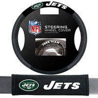 New York Jets NFL Steering Wheel Cover and Seatbelt Pad Auto Deluxe Kit