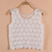 Summer Style Daisy crochet Sun flower vest embroidered tank tops for bikini cover up crop tops boho Hippie people beach blouse