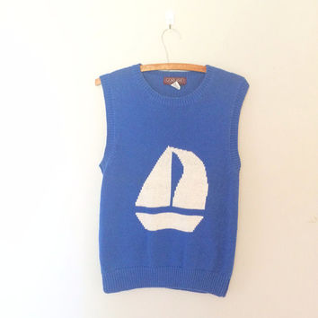 Knit Vintage nautical sweater / Tank top sweater